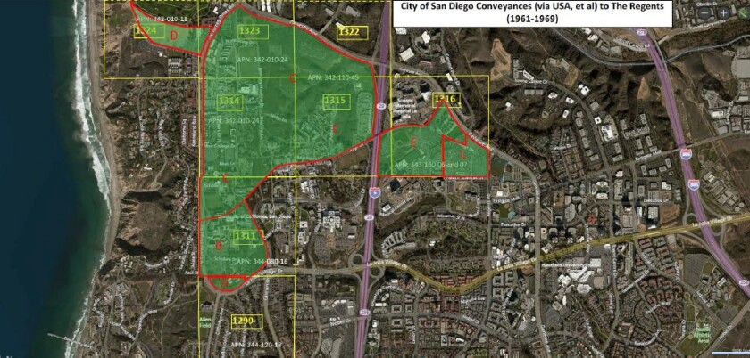 A map of the approximately 510 acres for which UC San Diego would like certain city deed restrictions lifted.
