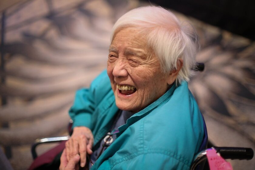 Grace Lee Boggs speaking at an environmental conference in Detroit in 2014. Boggs died Monday at 100.