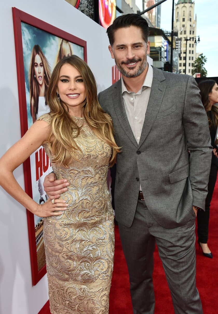 """Sofia Vergara, left, and Joe Manganiello arrive at the premiere of """"Hot Pursuit"""" at the TCL Chinese Theatre on Thursday, April 30, 2015, in Los Angeles. (Photo by Jordan Strauss/Invision/AP)"""