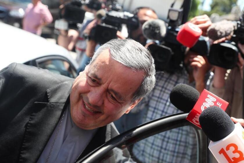 Rancagua, Chile, Nov. 14, 2018: Catholic Bishop Juan Barros leaves the prosecutor's office of O'Higgins. Barros, one of the most questioned figures in the Chilean Catholic Church, testified for 2 1/2 hours before the chief prosecutor of the O'Higgins region, Sergio Moya. EPA/EFE/Alberto Valdés