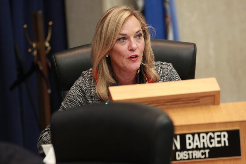 LOS ANGELES, CA., JANUARY 8, 2019 ---Supervisor Kathryn Barger speaks the Board of Supervisors meeti