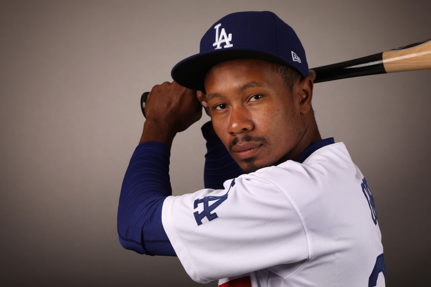 Dodgers outfielder Terrance Gore poses for a portrait.