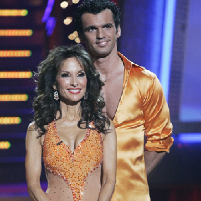 """POST-ELECTION TALLIES: A """"Dancing With the Stars"""" results show, in which Susan Lucci and Tony Dovolani were eliminated -- preempted from Tuesday -- slipped to a near-record low on Wednesday night."""