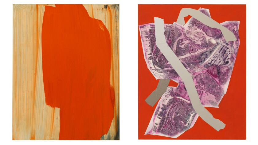 A pair of untitled abstractions from a show by Sigrid Sandström is seen at Anat Ebgi in Culver City.