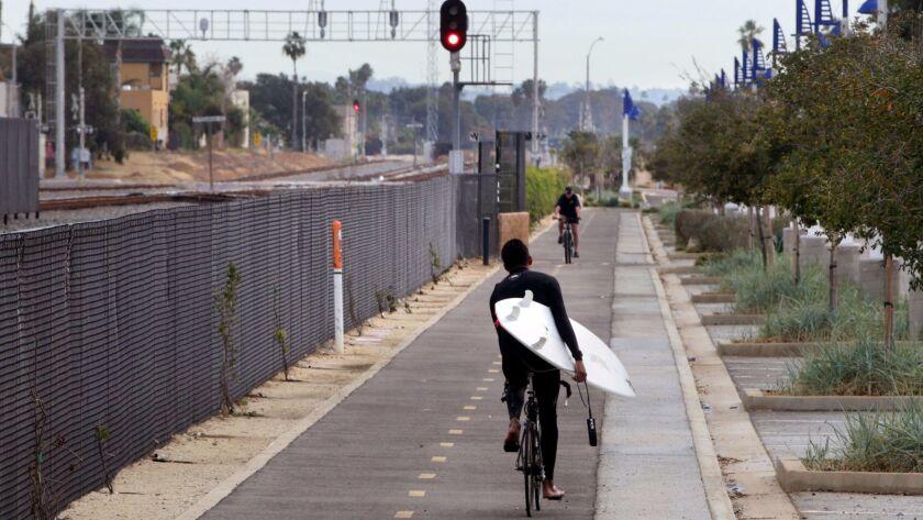 December 3, 2015_Oceanside, California_USA   Bike riders travel on the Coastal Rail Trail, adjacent