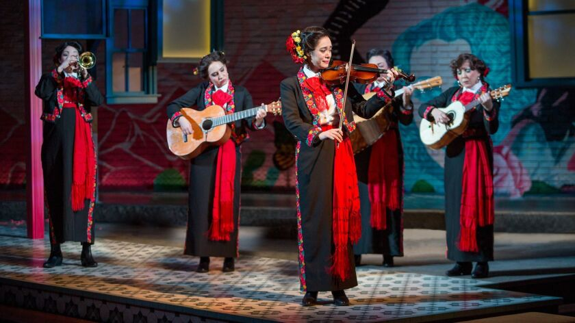 "Amanda Robles, Heather Velazquez, Jennifer Paredes, Natalie Camunas and Crissy Guerrero (from left) in ""American Mariachi."""