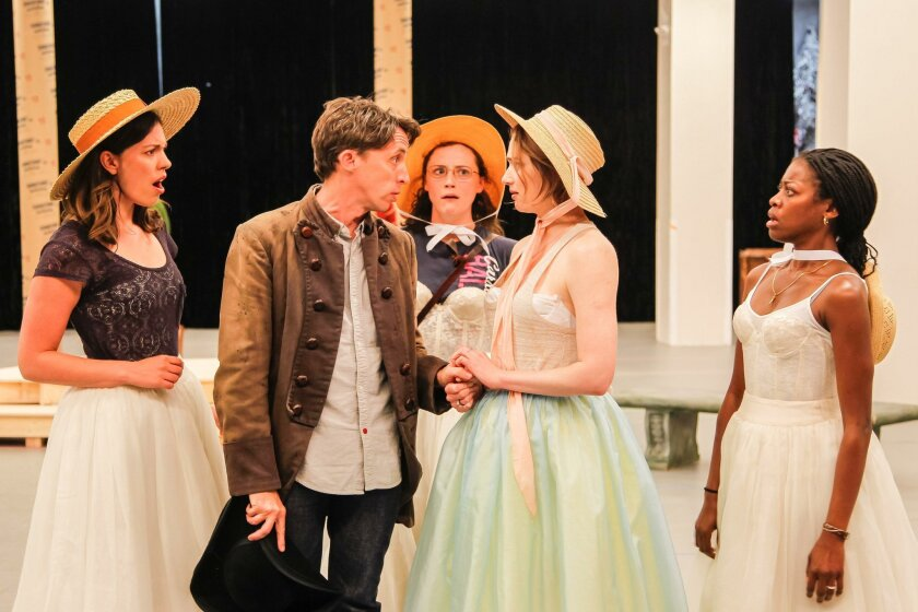 From left: Amy Blackman as Maria, Kevin Cahoon as Boyet, Talley Beth Gale as Katherine (back), Kristen Connolly as the Princess of France, and Pascale Armand as Rosaline during a rehearsal.