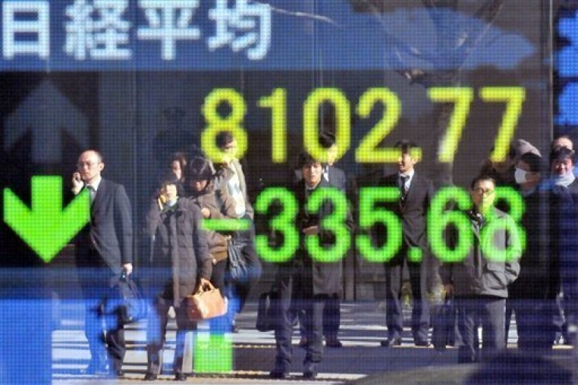 Pedestrians are reflected on an electric market board in Tokyo, Thursday, Jan. 15, 2009. The benchmark Nikkei 225 stock average dropped 335.68 points, or 3.98 percent to end morning session at 8,102.77. (AP Photo/Katsumi Kasahara)