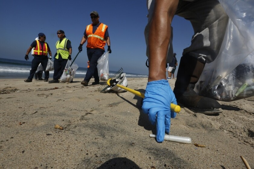 Cleanup contractors for the city of Los Angeles pick up tampon applicators that washed ashore at Dockweiler State Beach in Playa del Rey on Sept. 24, 2015.