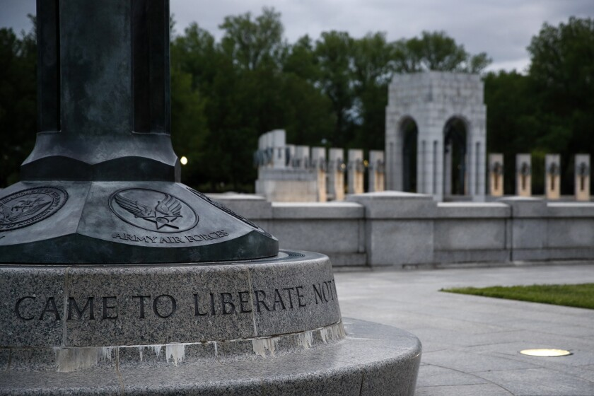 The World War II Memorial in Washington. Eight veterans will join President Trump at a wreath-laying ceremony May 8 to commemorate the 75th anniversary of the end of the war in Europe.