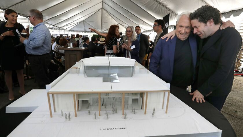 INGLEWOOD, CA-AUGUST 15, 2018_ Architect Frank Gehry, left, and Gustavo Dudamel, Music & Artistic D