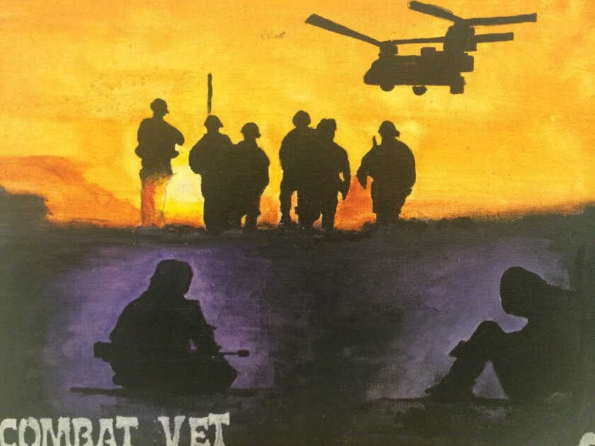 Painting by Navy veteran Frank Reeves. Part of Combat Arts exhibition at the Oceanside Public Library through Oct. 31.
