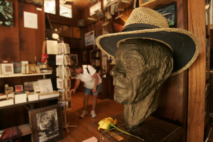 BIG SUR, CA - AUGUST 10, 2009 - Henry Miller's sculpture in the Henry Miller Memorial Library in Big