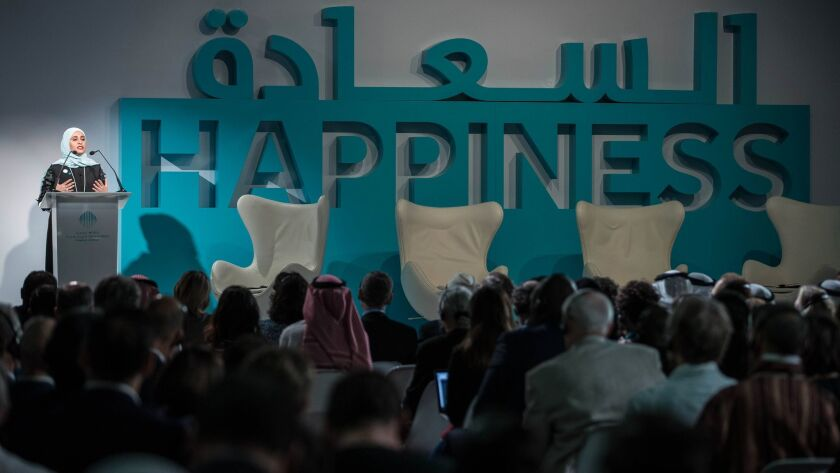 Roumi addresses a global dialogue on happiness that she organized as part of the annual World Government Summit in Dubai in February.