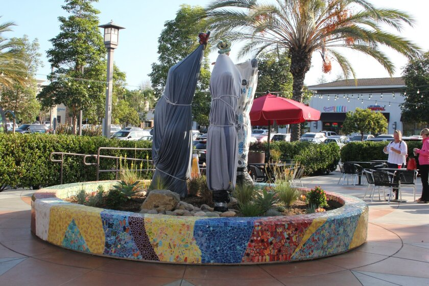 The new sculpture at Torrey Hills Center will be unveiled on Nov. 1. Photo by Karen Billing