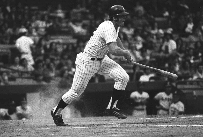 New York Yankees designated hitter Ron Blomberg hits against the California Angels.