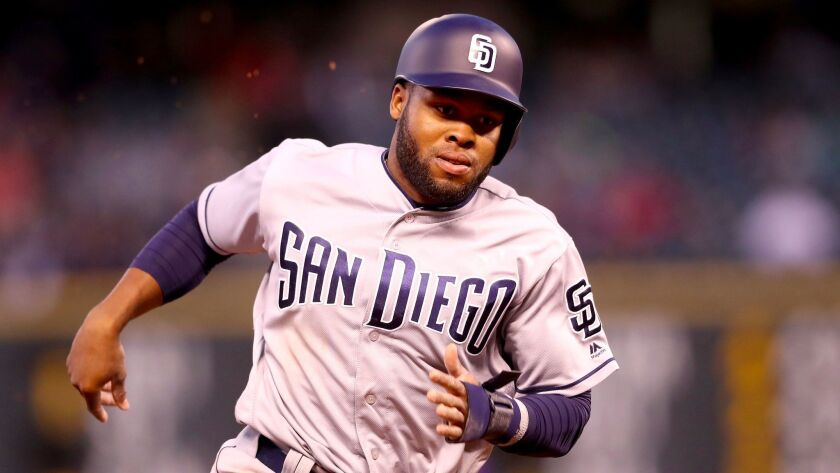 Manuel Margot of the San Diego Padres scores on a Will Myers double in the third inning against the Colorado Rockies at Coors Field on April 10, 2017, in Denver, Colorado.