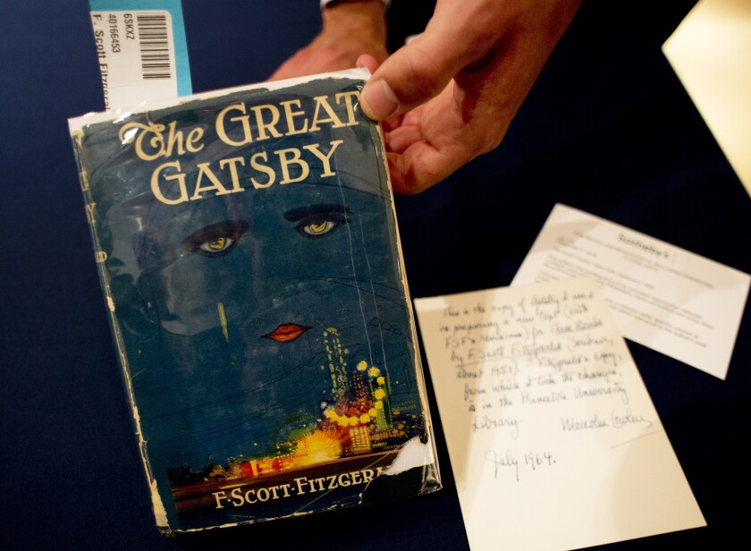 """A copy of """"The Great Gatsby"""" by F. Scott Fitzgerald."""