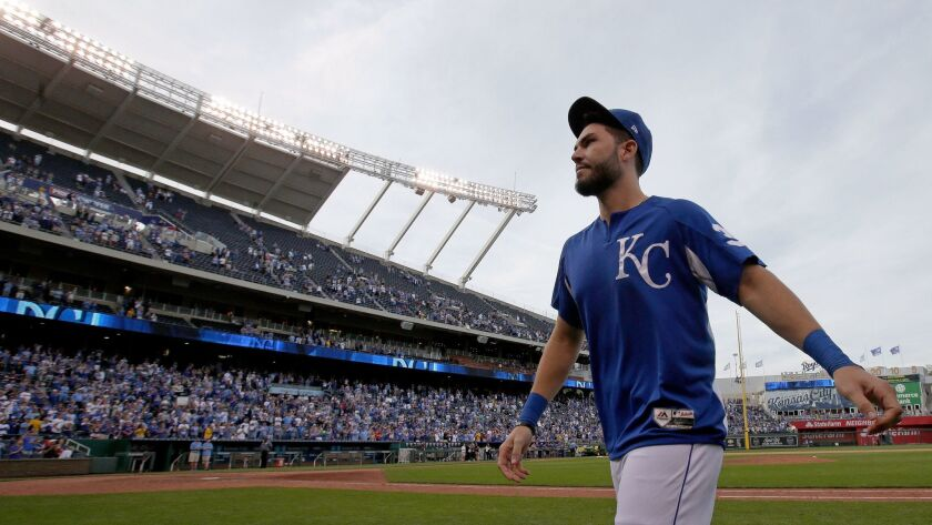 Kansas City Royals' Eric Hosmer walks off the field after a baseball game against the Arizona Diamon