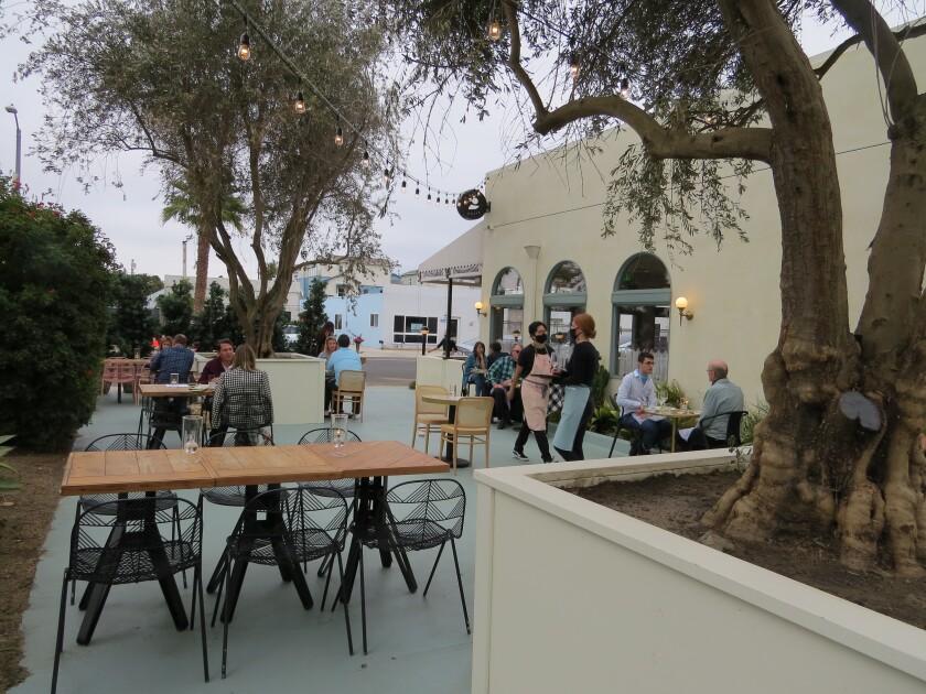 Outdoor dining at Jeune et Jolie: Starry Night restaurant in Carlsbad.