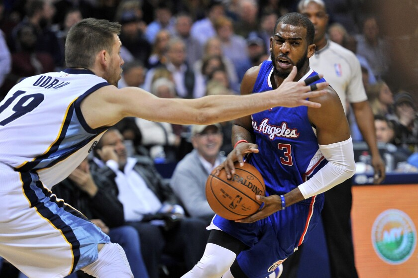 Clippers point guard Chris Paul looks to make a pass against Grizzlies point guard Beno Udrih in the first half Friday night in Memphis.