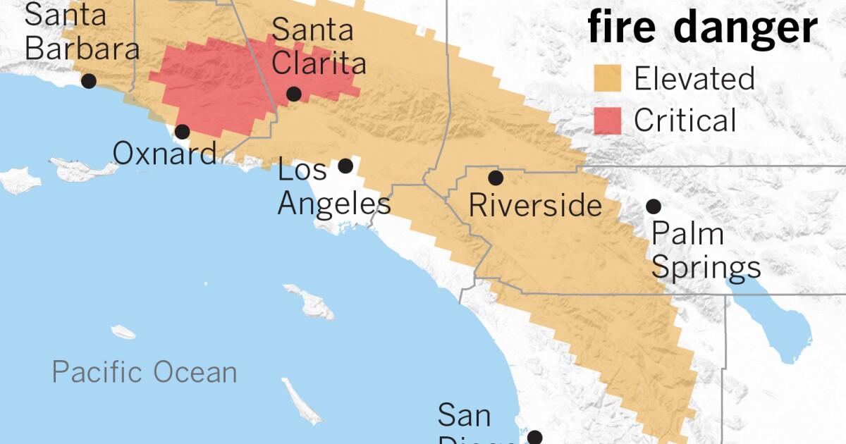 Επικίνδυνη φωτιά καιρικές συνθήκες επιστροφή την κυριακή στη Νότια Καλιφόρνια