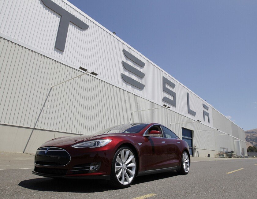 A Tesla Model S sedan outside the electric car company's factory in Fremont, Calif., on June 22, 2012.