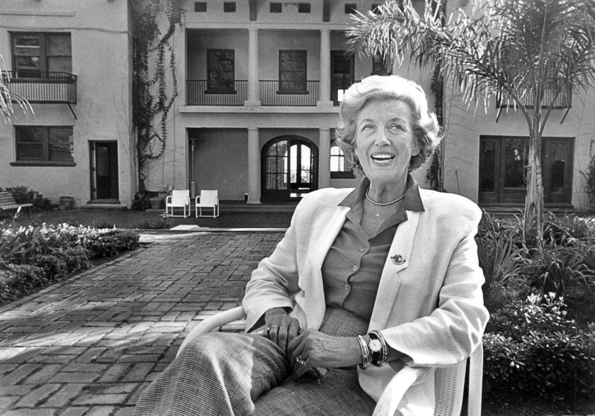 Marian Gibbons in the garden of the Wattles mansion in 1988.
