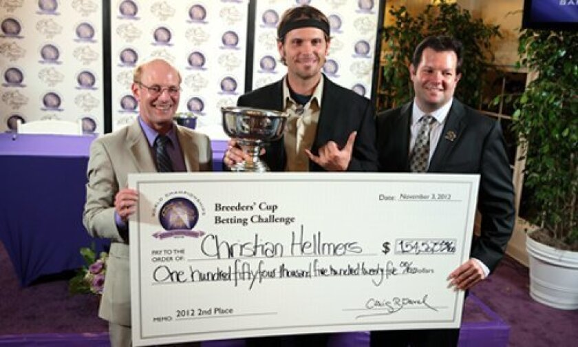 (L-R) Breeders' Cup contest administrator Ken Kirchner, Christian Hellmers and Santa Anita representative Nate Newby.