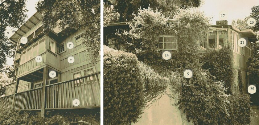 These old photos of the former Jack O' Lantern (left) and East Cliff (right) cottages reference architectural elements the Coastal Commission requires of three new townhomes being built where several Green Dragon Colony cottages once stood, including walkways with wood handrails (2); California nat