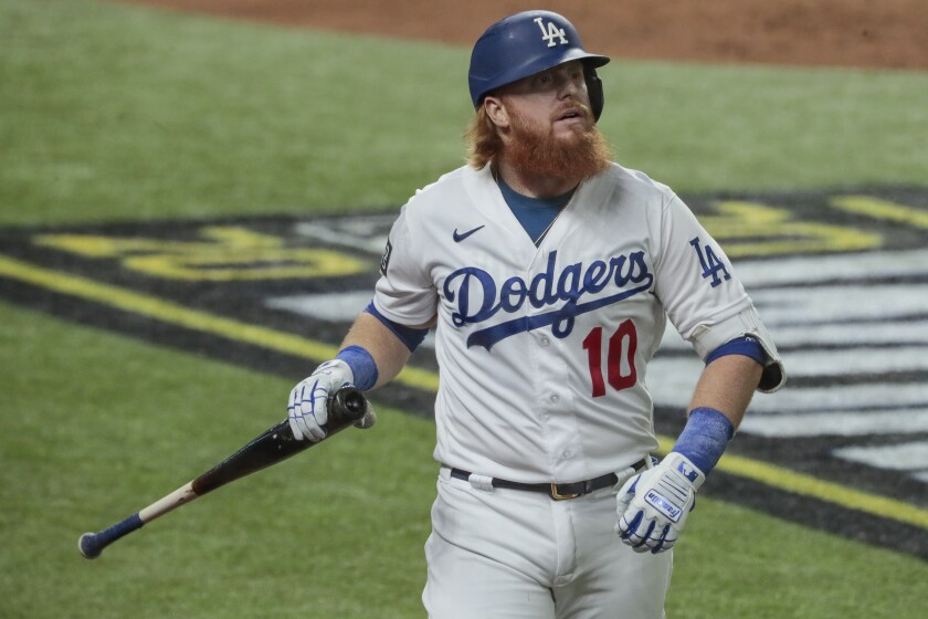 Justin Turner heads back to the dugout after striking out in Game 6 of the World Series.