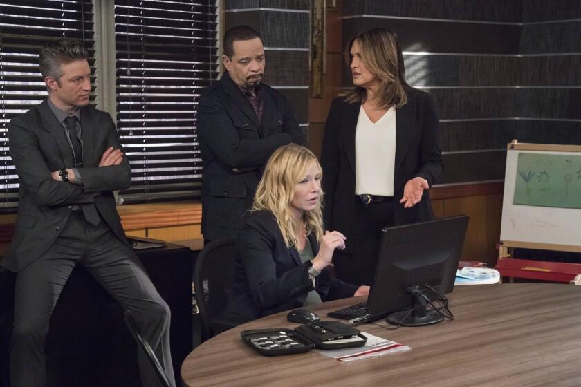 "Peter Scanavino as Dominick ""Sonny"" Carisi, Ice T as Odafin ""Fin"" Tutuola, Kelli Giddish as Detective Amanda Rollins, Mariska Hargitay as Lieutenant Olivia Benson in ""Law & Order: SVU."""
