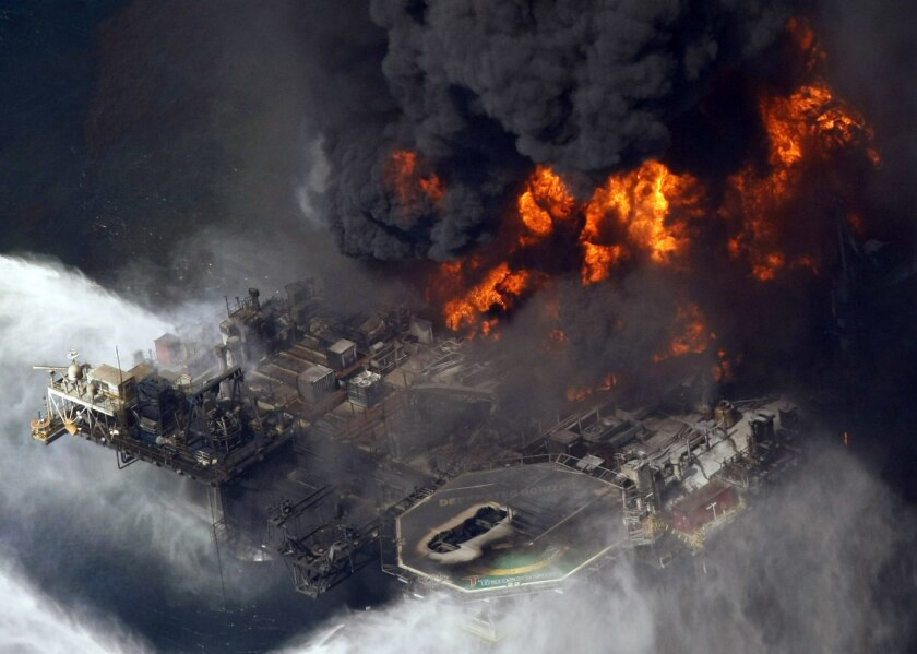 The burning Deepwater Horizon oil rig