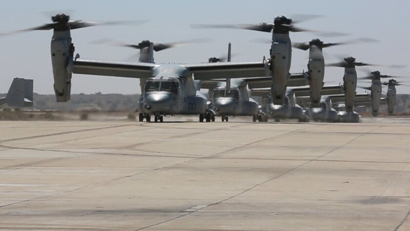 MV-22 Ospreys with Marine Medium Tiltrotor Squadron 166 land at Marine Corps Air Station Miramar on Sept. 10 following a deployment with the 13th Marine Expeditionary Unit.