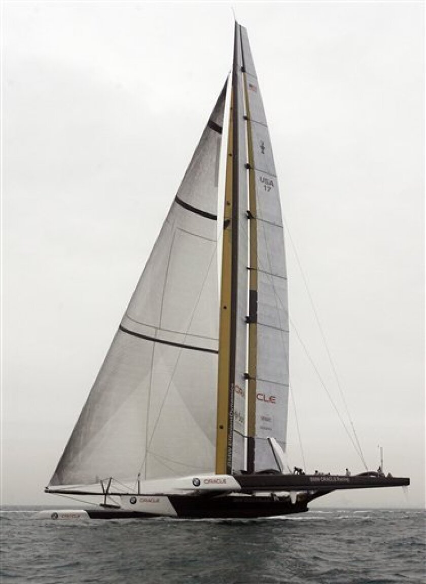 The BMW Oracle Racing yacht sails off the coast of Valencia, Spain, on Thursday, Feb. 4, 2010. The 33rd America's Cup is scheduled to start on Feb. 8. (AP Photo/Alberto Saiz)