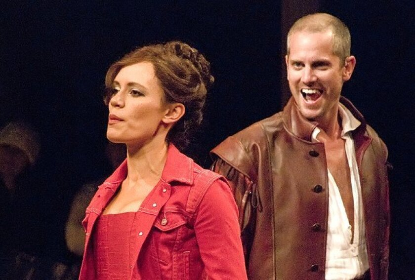 """Emily Swallow as Katherine and Jonno Roberts as Petruchio star in The Old Globe's """"The Taming of the Shrew."""""""
