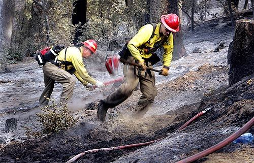 Crews from Oregon working on the Poomacha in north San Diego county fire sift through the ash with their shovels looking for hot spots on Palomar Mountain.