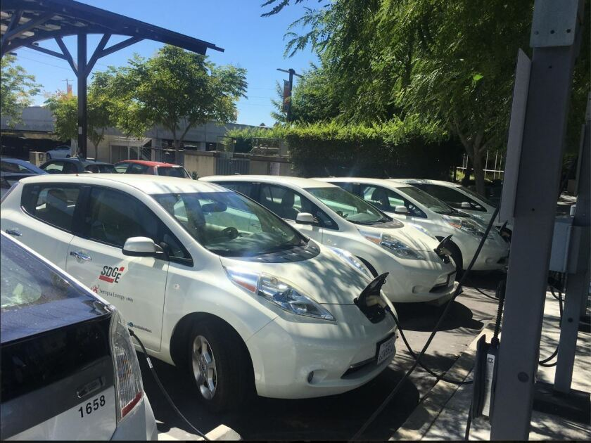An electric car charging station is shown at the headquarters of San Diego Gas & Electric in Kearny Mesa.