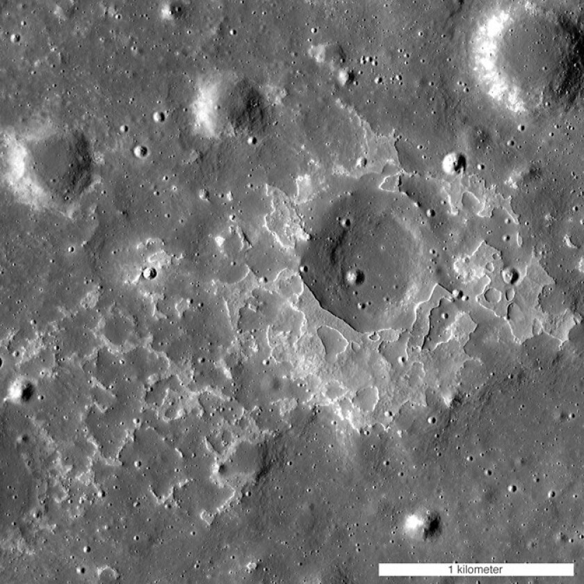"This feature on the lunar surface, called Maskelyne, is one of many newly-discovered young volcanic deposits on the moon. These ""irregular mare patches"" are thought to be remnants of small eruptions that occurred just a few tens of millions of years ago."