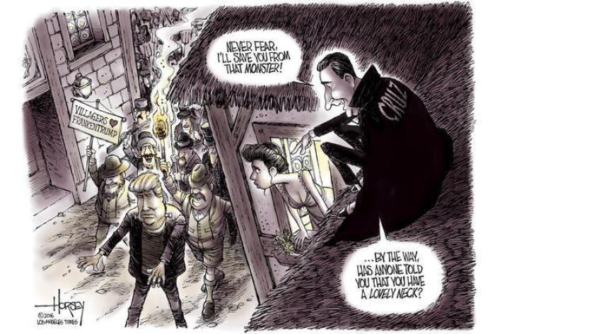 """Ted """"Drácula"""" Cruz y el monstruo Trump, representados por el dibujante David Horsey, de The Times (Los Angeles Times)."""