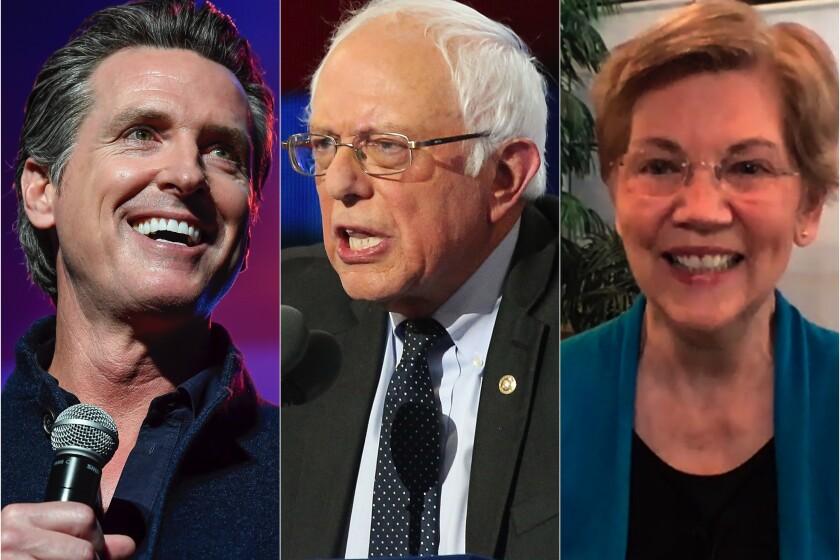 Gov. Gavin Newsom, left and Senators Bernie Sanders and Elizabeth Warren.