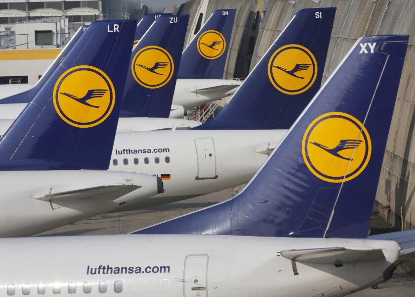 FILE - In this April 2, 2014 file picture Lufthansa aircrafts are parked as Lufthansa pilots went on a three-days-strike in Frankfurt, Germany.  A union representing cabin crews at Germany's Lufthansa is calling members out on strike in a contract dispute with the airline. The UFO union earlier thi