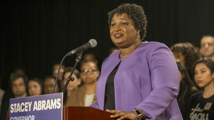 Georgia gubernatorial candidate Stacey Abrams makes remarks during a press conference at the Abrams