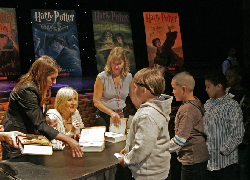 J.K. Rowling's Harry Potter series is the subject of a new bibliography. She signed books for 1,600 L.A. schoolchildren in 2007.