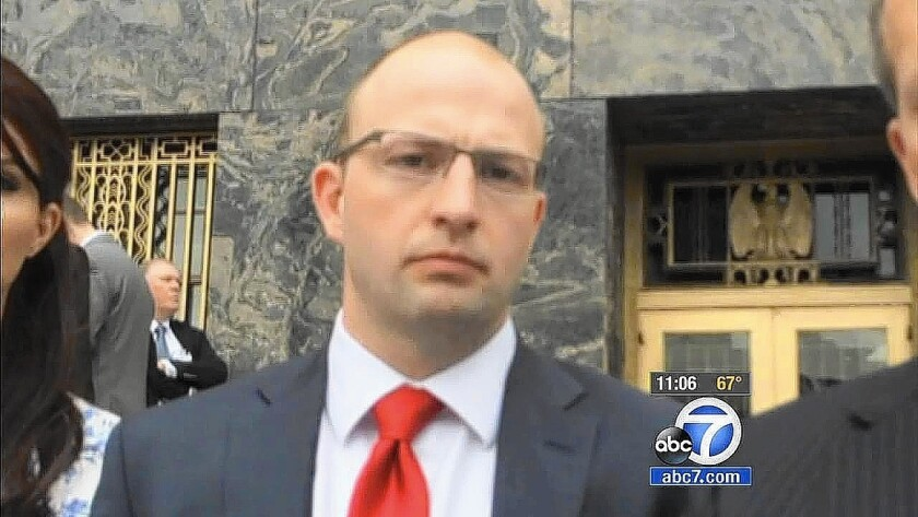 Los Angeles County Sheriff's Deputy James Sexton, shown in May, was found guilty by a federal jury on conspiracy and obstruction charges related to a federal investigation of corruption in county jails.