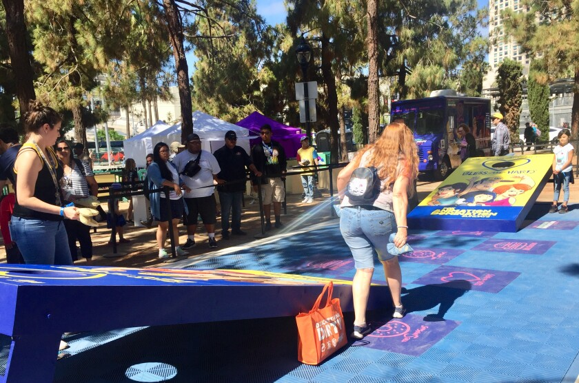 Visitors to Fox Fun Fair this weekend can play a giant game of corn hole for fun and prizes.