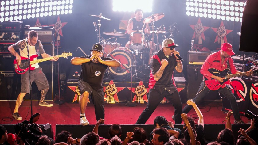 The Prophets of Rage:  Tim Commerford on bass, from left, Chuck D on vocals, Brad Wilk on drums, B-Real on vocals and Tom Morello.