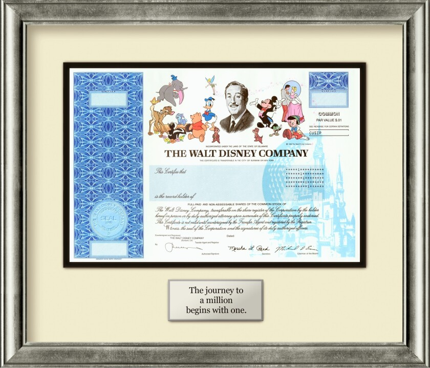 A certificate for a single share of Walt Disney Co. stock.