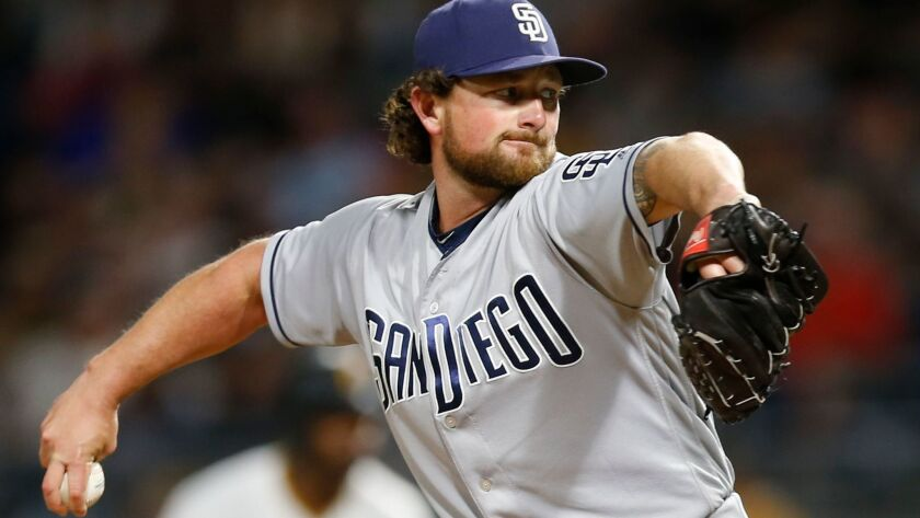 San Diego Padres relief pitcher Kirby Yates pitches against the Pittsburgh Pirates in the eighth inning of a baseball game, Saturday, Aug. 5, 2017, in Pittsburgh. The Padres won 5-2.