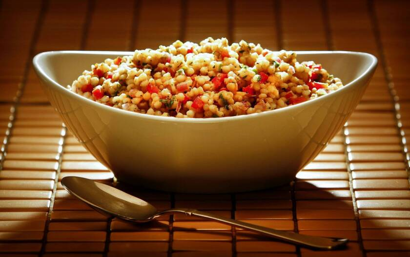 The Israeli couscous is mixed with herbs, lemon and Moroccan spices. Read the recipe »